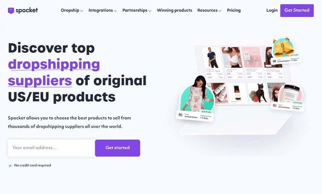 Homepage of Spocket dropshipping supplier.
