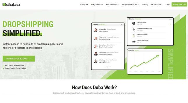 Doba homepage - a dropshipping supplier.