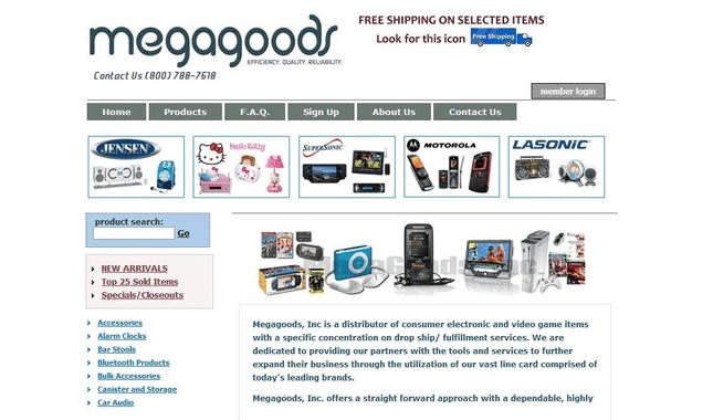 Screenshot of Megagoods website.