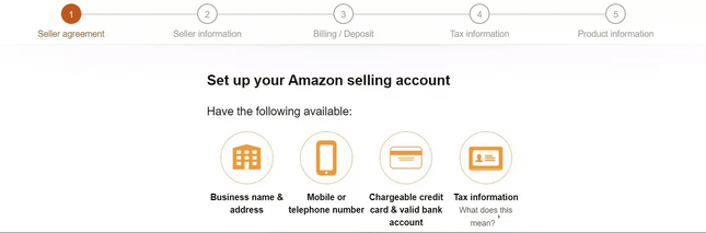 Process of registering as an Amazon seller.