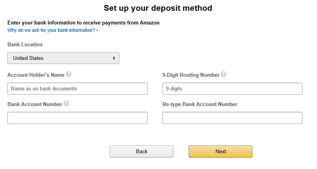 Amazon Bank Account Details.