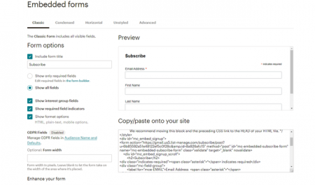 Embedded Forms