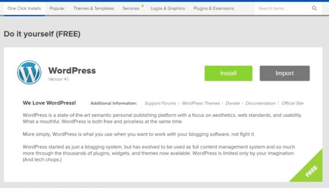 You can install any CMS, such as WordPress, with one click.