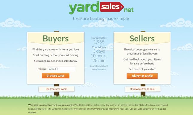 YardSales website homepage