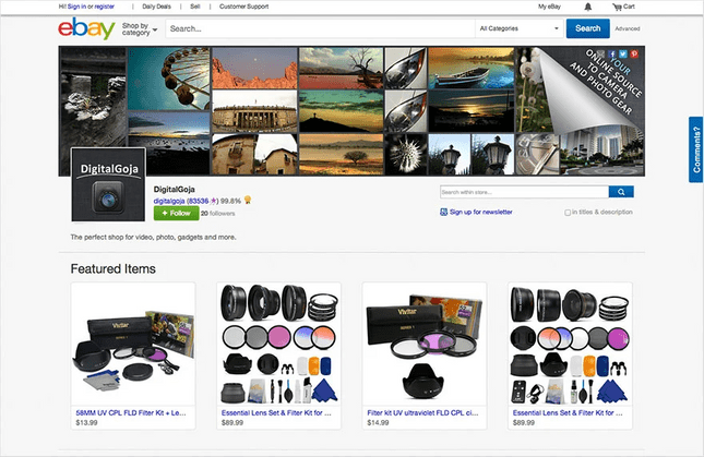 Example of an eBay store