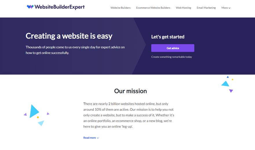 website builder expert color background example