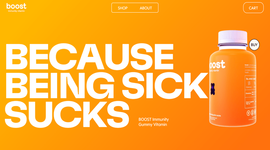boost website color background example