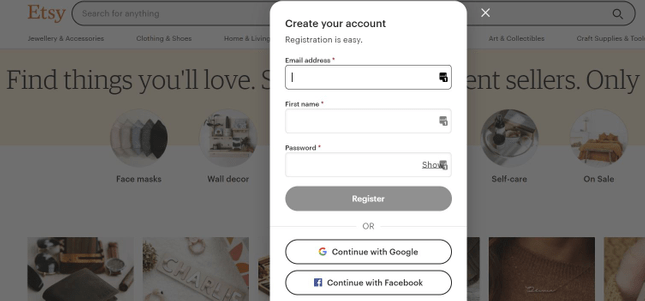Etsy registration form