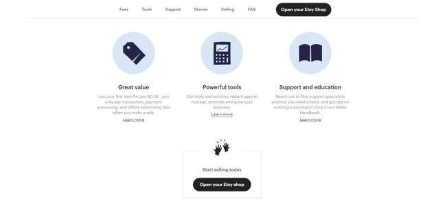 Etsy shop setup button